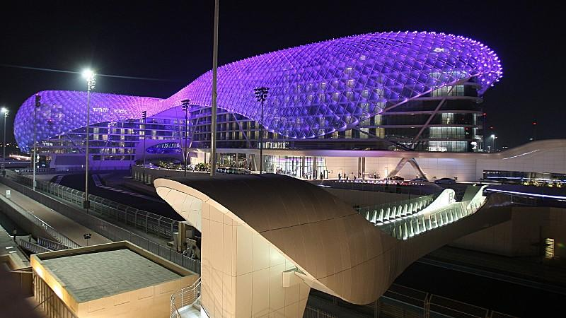 The Yas luxury hotel at the newly built Yas Marina Circuit is seen in Abu Dhabi, United Arab Emirates on 28 October 2009. Yas Marina Circuit, the organisers of the inaugural Formula One Etihad Airways Abu Dhabi Grand Prix, announced that the event is