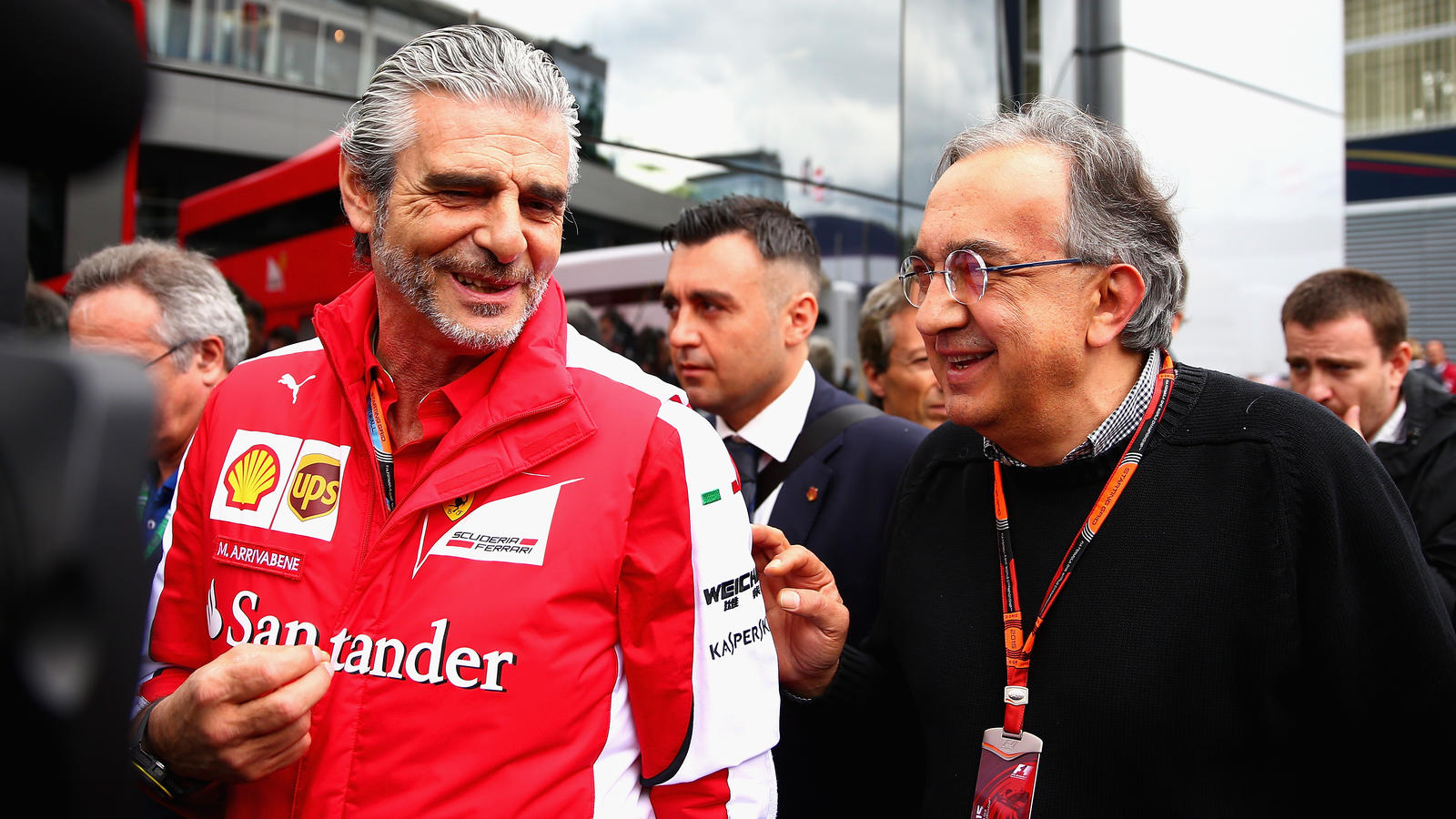 SPIELBERG, AUSTRIA - JUNE 21:  Ferrari Team Principal Maurizio Arrivabene speaks with Fiat CEO Sergio Marchionne in the paddock before the Formula One Grand Prix of Austria at Red Bull Ring on June 21, 2015 in Spielberg, Austria.  (Photo by Clive Mas