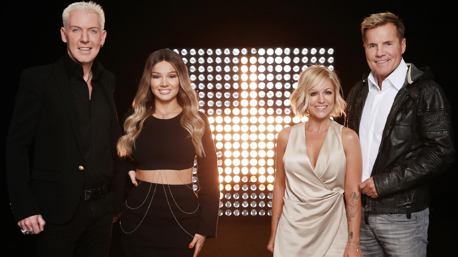 """H.P. Baxxter, Shirin David, Michelle und Dieter Bohlen sitzen 2017 bei """"Deutschland sucht den Superstar"""" in der Jury."""