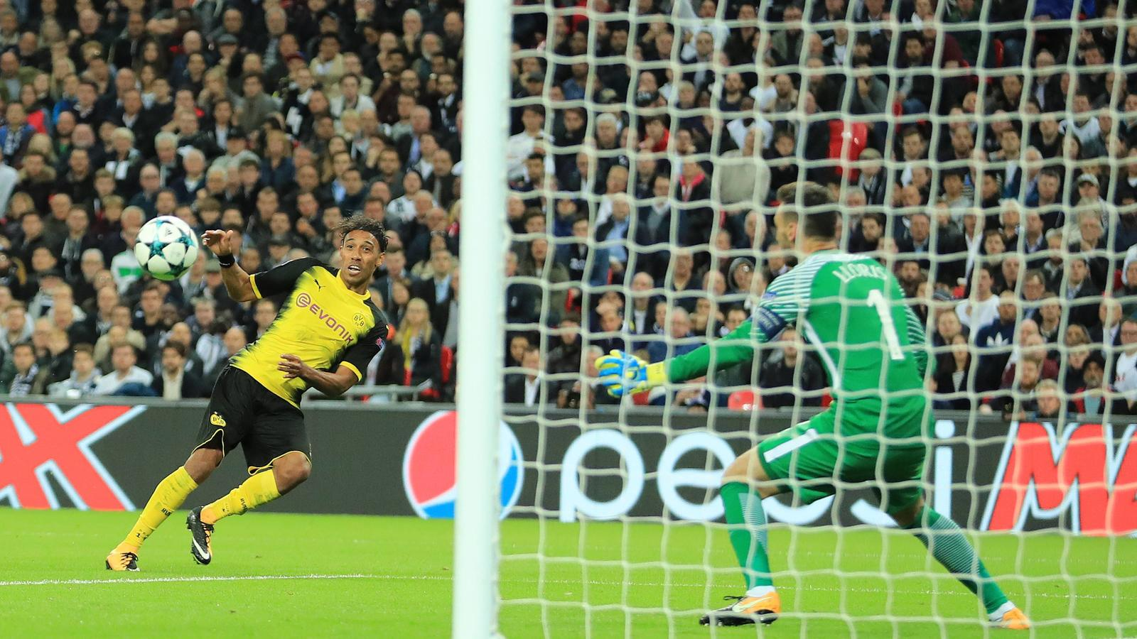 13th September 2017, Wembley Stadium, London, England&#x3B; Champions League Group stage, Tottenham Hotspur versus Borussia Dortmund&#x3B; Pierre-Emerick Aubameyang of Borussia Dortmund scores but it is disallowed for offside PUBLICATIONxINxGERxSUIxAUTxHUNxSWE