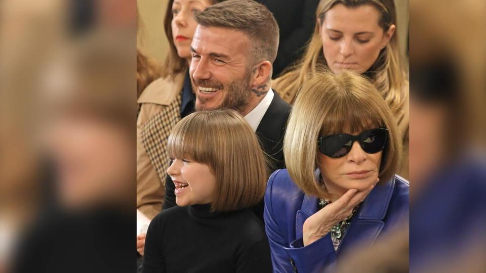 Mutter als Designerin und Model:Familie Beckham sitzt in der ersten Reihe