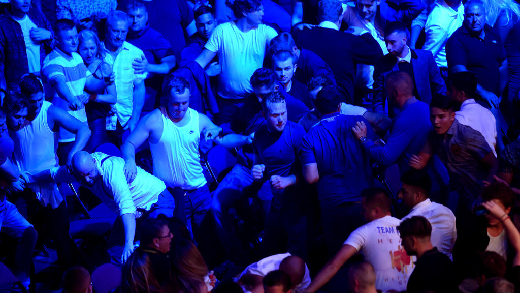 MANCHESTER, ENGLAND - JUNE 09: A fight is seen in the crowd at Manchester Arena on June 9, 2018 in Manchester, England.  (Photo by Nathan Stirk/Getty Images)