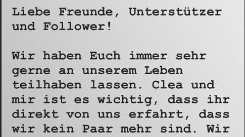 Sebastian Pannek bestätigt bei Instagram die Trennung