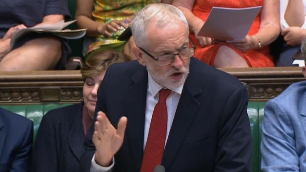 09.07.2018, Großbritannien, London: Jeremy Corbyn, Parteivorsitzender der britischen Labour-Partei, spricht im britischen Unterhaus über den Brexit-Plan der britischen Premierministerin May. (Bestmögliche Qualität) Foto: Pa/PA Wire/dpa - ACHTUNG: Nur