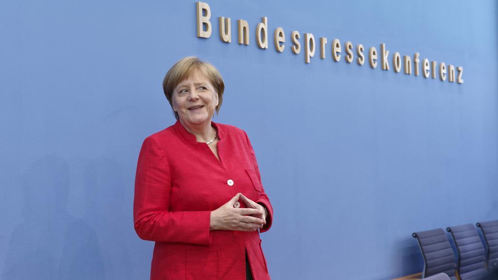 Sommerpressekonferenz Angela Merkel 2018-07-17, Berlin, Deutschland - Traditionelle Sommerpressekonferenz von Bundeskanzlerin Angela Merkel (CDU). *** Summer Press Conference Angela Merkel 2018 07 17 Berlin Germany Traditional Summer Press Conference