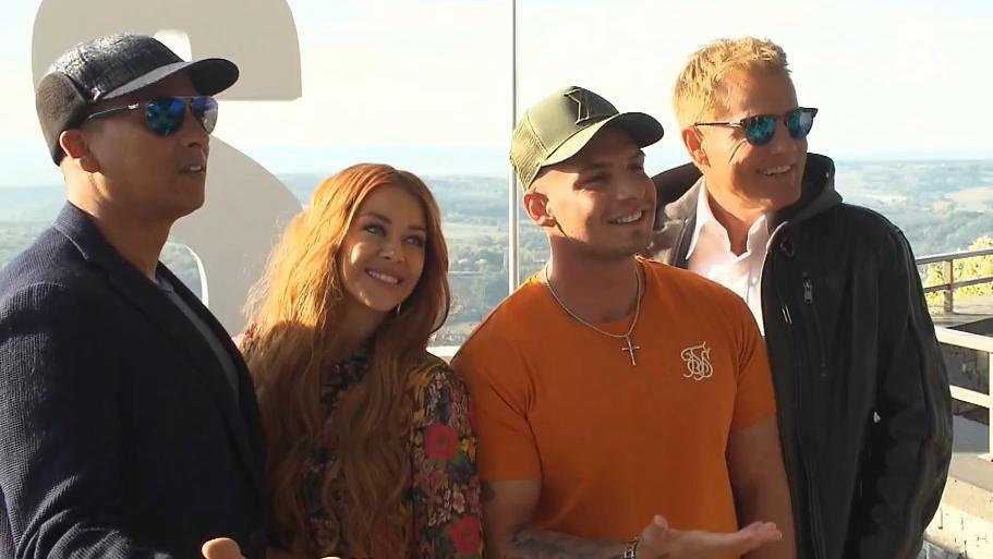 Xavier Naidoo, Oana Nechiti, Pietro Lombardi und Dieter Bohlen an ihrem ersten gemeinsamen Arbeitstag.