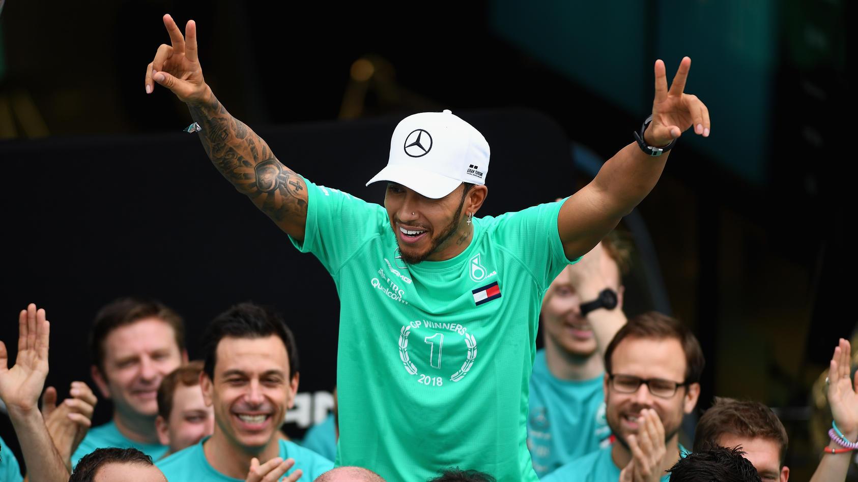Erstmals gewinnt Lewis Hamilton in einer Saison einen Grand Prix nachdem er schon Weltmeister geworden ist