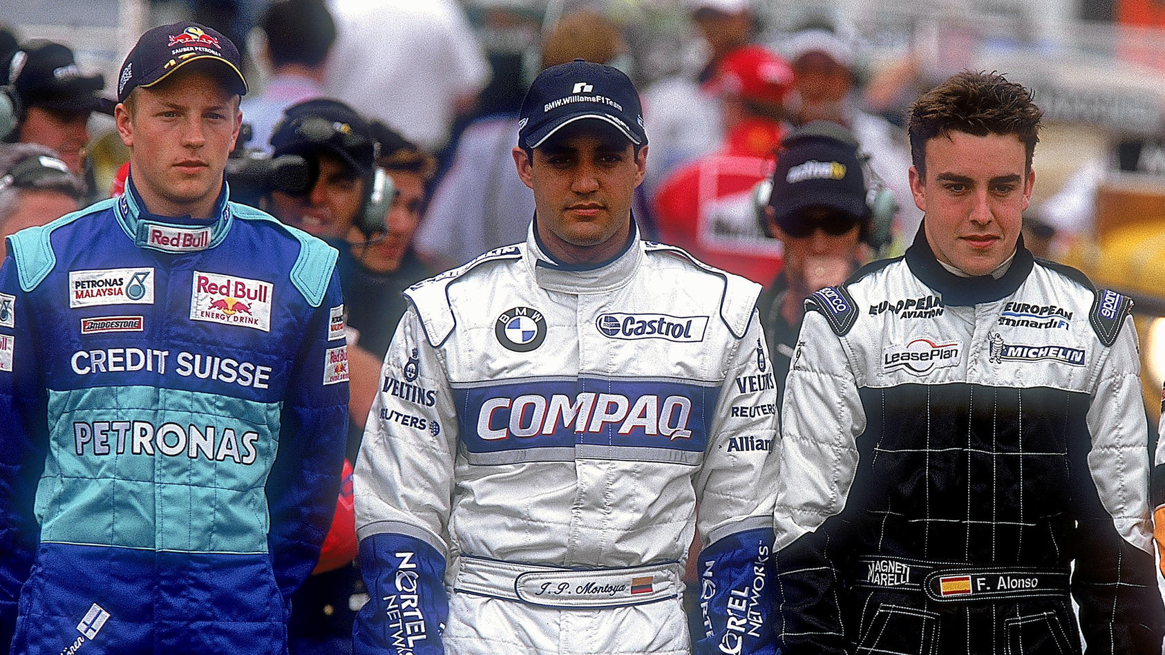Feierten 2001 ihr Debüt in der Formel 1: Kimi Räikkönen, Juan Pablo Montoya und Fernando Alonso (von links nach rechts)