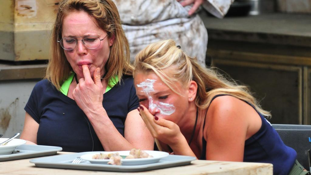 Doreen und Evelyn scheinen die Schweinehoden-Frikadellen und der Kotzfruchtkartoffelsalat zu püriertem Kakerlakensenf nicht so zu munden...
