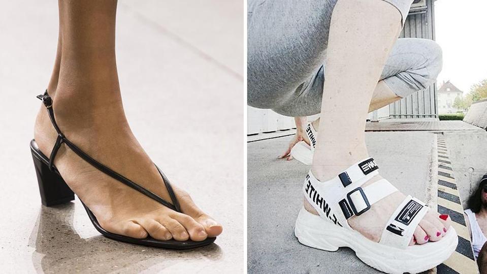 """Flip-Flops mit Absatz und """"Ugly Sandals"""" - das sind nur zwei der Schuhtrends für den Sommer 2019."""