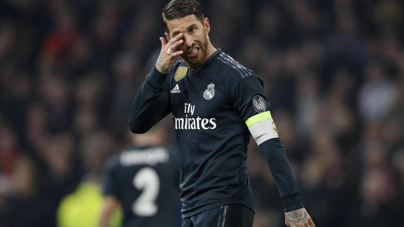 Sergio Ramos of Real Madrid during the UEFA Champions League round of 16 match Ajax Amsterdam and Re