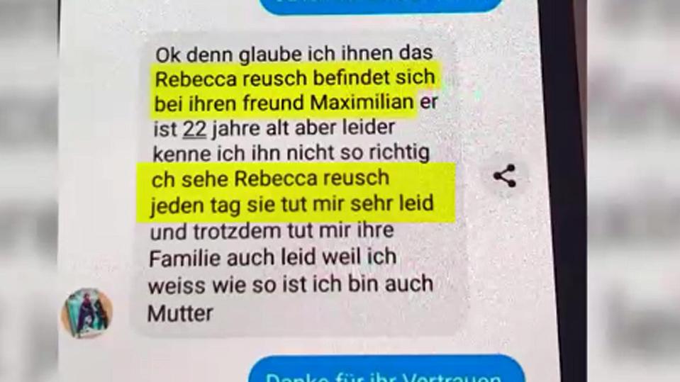 Textnachricht im Fall Rebecca Reusch