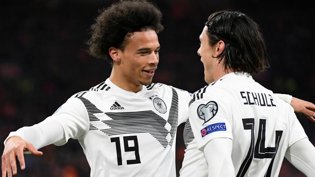 Soccer Football - Euro 2020 Qualifier - Group C - Netherlands v Germany - Johan Cruijff ArenA, Amsterdam, Netherlands - March 24, 2019  Germany's Leroy Sane celebrates scoring their first goal      REUTERS/Piroschka Van De Wouw