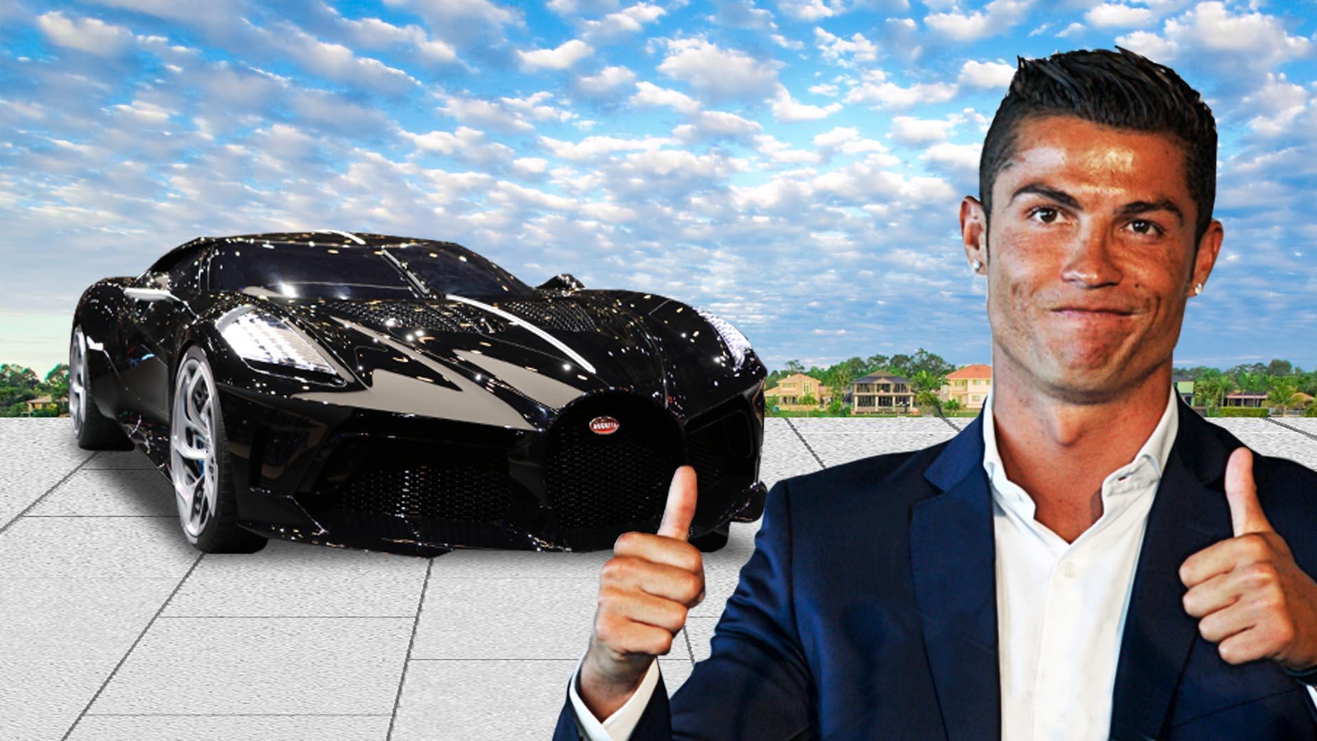 Cristiano ronaldo fährt mit dem bugatti la voiture noire