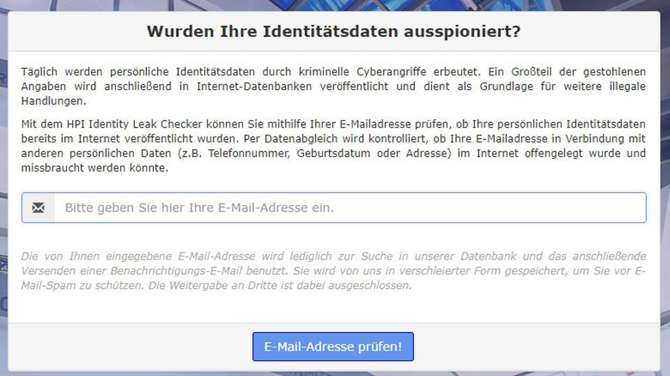 email prüfen ob gehackt