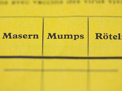 Ein Impfausweis ist am 24.02.2015 in Berlin zu sehen. Die Felder für die Krankheiten Masern, Mumps und Röteln sind leer. Foto: Lukas Schulze/dpa +++(c) dpa - Bildfunk+++