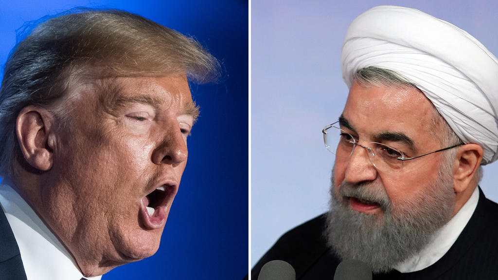 """ARCHIV - 07.10.2017, Iran, Tehran: KOMBO- Die Kombo zeigt Donald Trump, Präsident der USA (l, 12.07.2018, Brüssel) und Hassan Ruhani, Präsident des Iran (07.10.2017, Teheran). (zu dpa """"Irans Präsident schlägt Trumps Gesprächsangebot aus"""" am 12.05.20"""