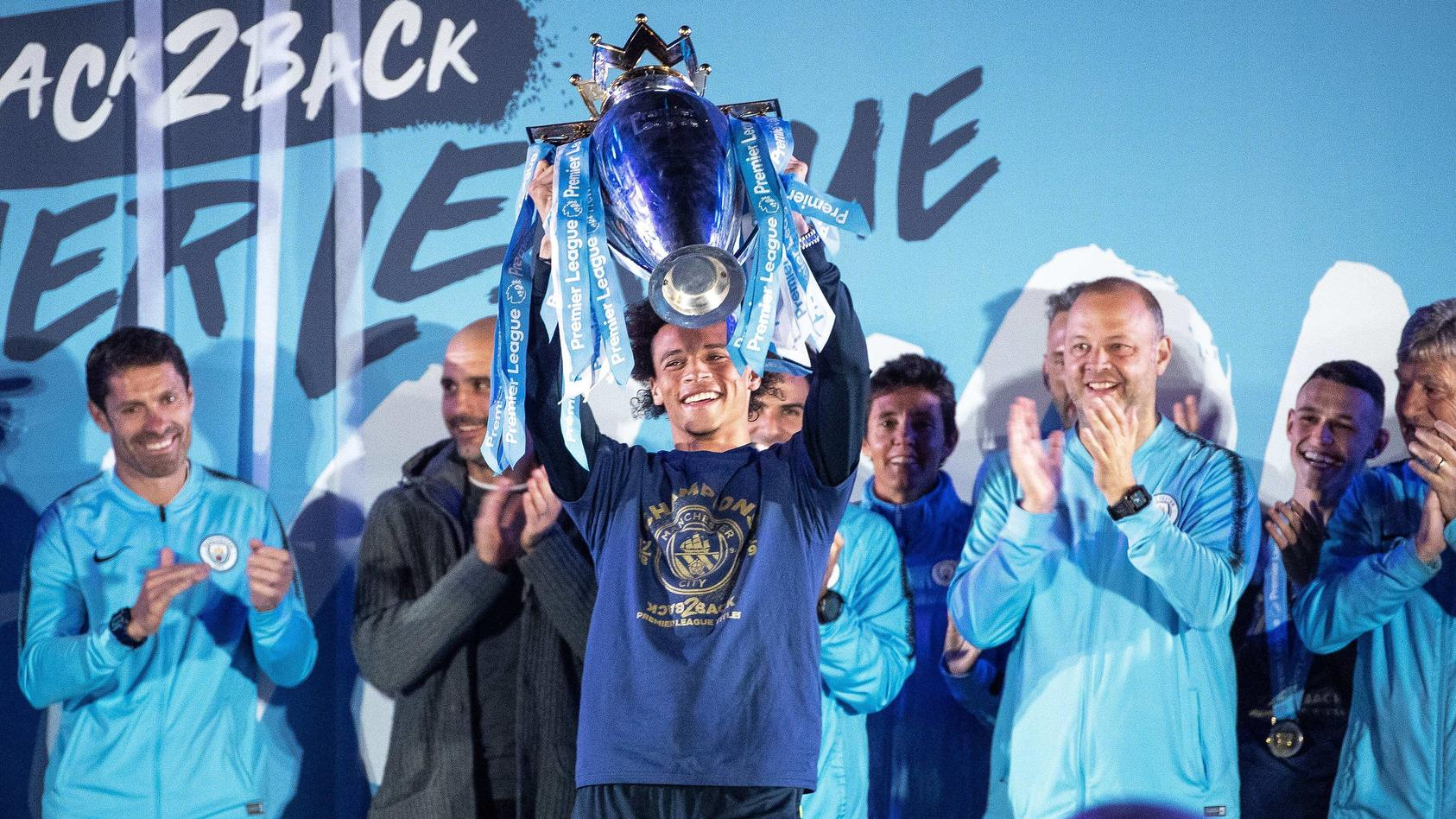 May 12 2019 Manchester Greater Manchester UK Manchester UK LEROY SANE raises the trophy