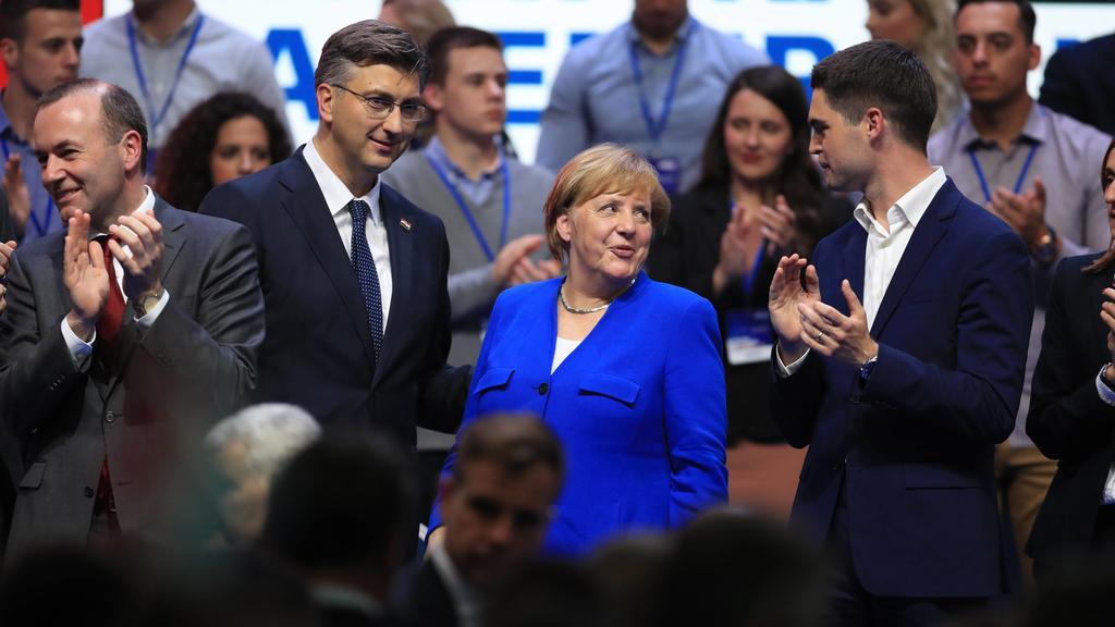 Angela Merkel in Croatia 18.05.2019.,Croatia, Zagreb - German Chancellor Angela Merkel participated in the central election Rally of the Croatian Democratic Union for the European Parliament elections. Manfred Weber, Andrej Plenkovic, Angela Merkel,