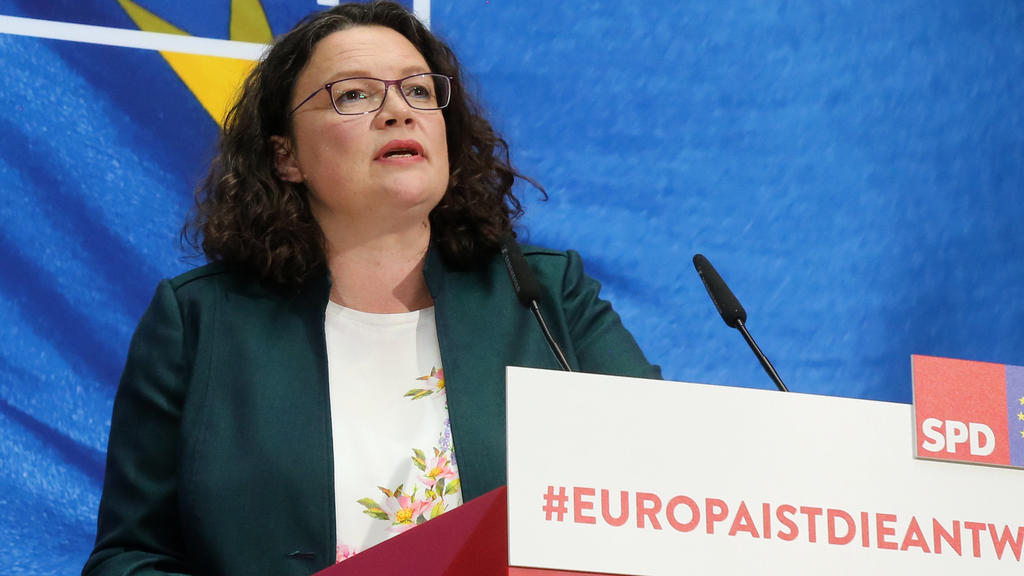 26.05.2019, Berlin: Andrea Nahles (SPD), Parteivorsitzende, äußert sich auf einer Pressekonferenz der SPD zum Ergebnis der Europawahl. Foto: Wolfgang Kumm/dpa +++ dpa-Bildfunk +++