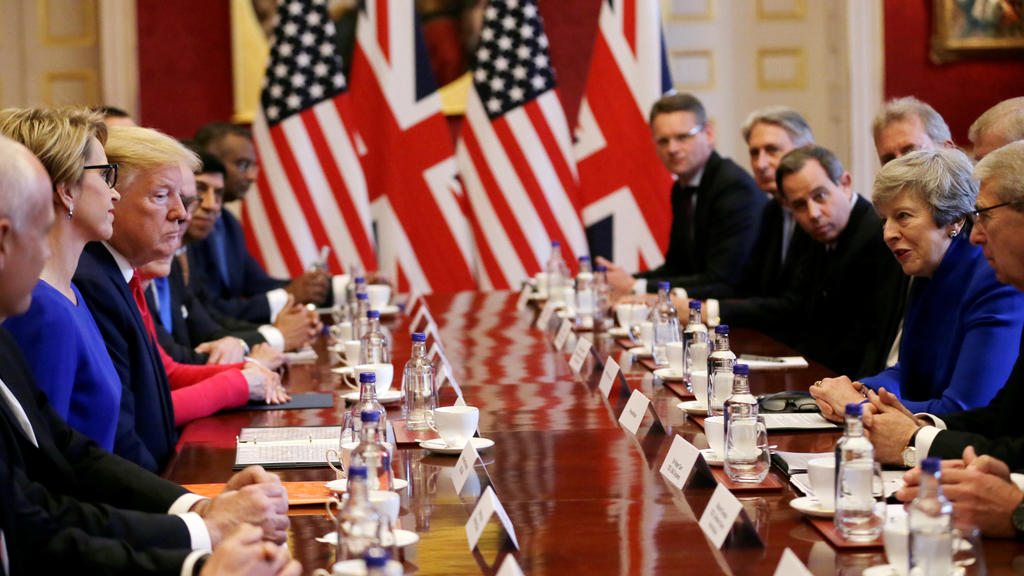 U.S. President Donald Trump and British Prime Minister Theresa May attend a business roundtable event at St. James's Palace, London, Britain June 4, 2019. Tim Ireland/Pool via REUTERS