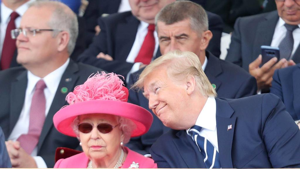 . 05/06/2019. Portsmouth, United Kingdom. Queen Elizabeth II, President Trump, wife Melania and Prince of Wales at the D-Day 75 Commemorations in Portsmouth, United Kingdom. PUBLICATIONxINxGERxSUIxAUTxHUNxONLY xPoolx/xi-Imagesx IIM-19764-0080