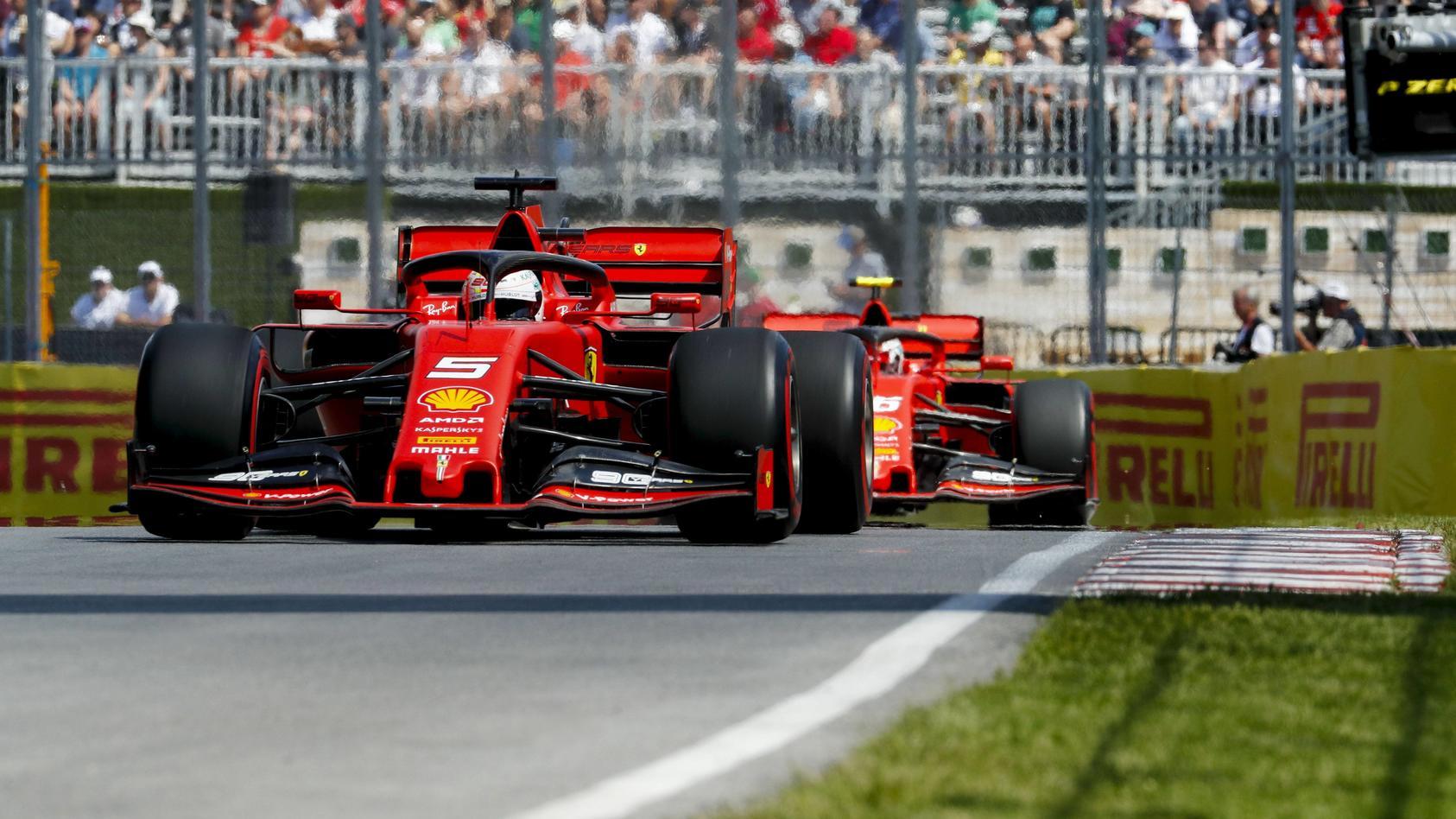 Sebastian Vettel und Charles Leclerc im Training von Montreal