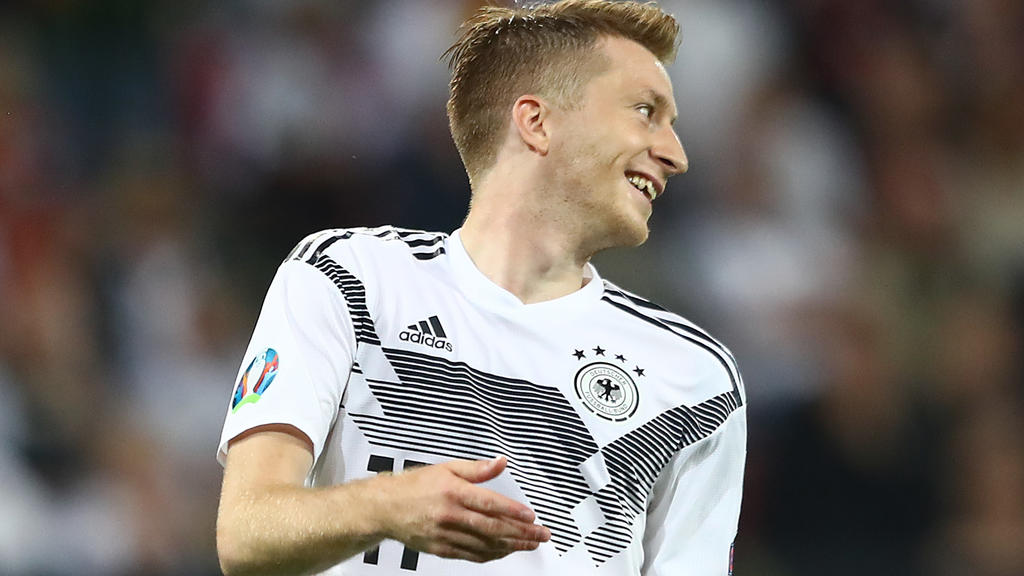 MAINZ, GERMANY - JUNE 11: Marco Reus of Germany reacts during the UEFA Euro 2020 Qualifier match between Germany and Estonia at Opel Arena on June 11, 2019 in Mainz, Germany. (Photo by Martin Rose/Bongarts/Getty Images)