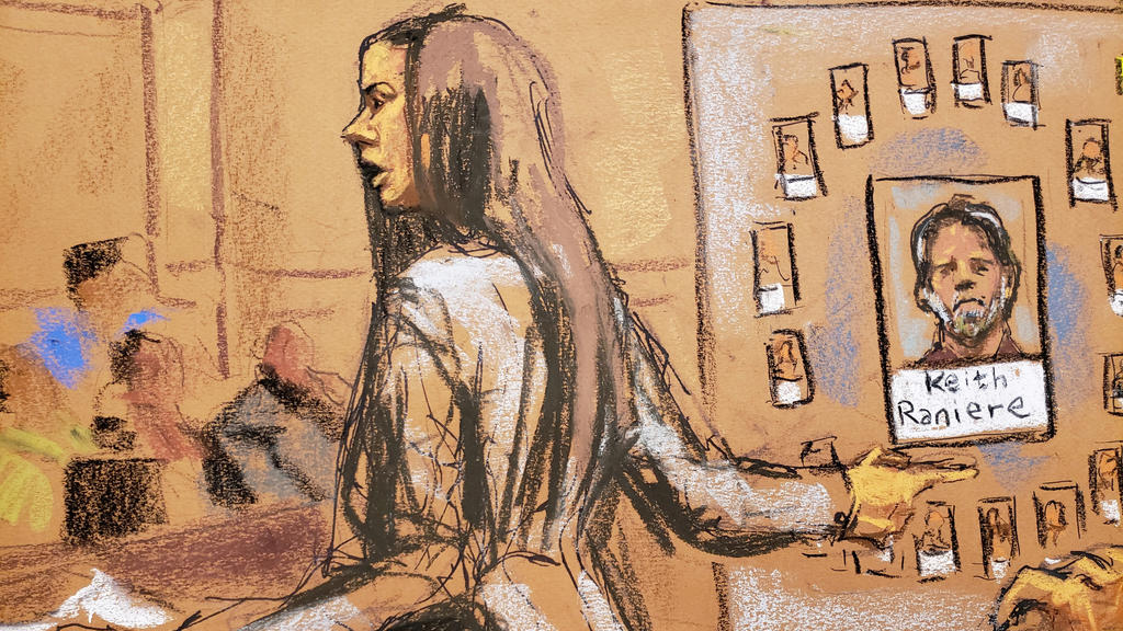 Assistant United States Attorney Moira Penza is shown in this courtroom sketch during closing arguments in the trial of Nxivm leader Keith Raniere, facing charges including racketeering, sex trafficing and child pornography in U.S. Federal Court in B