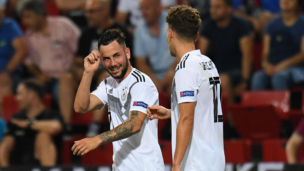 TRIESTE, ITALY - JUNE 20:  Luca Waldschmidt and  Marco Richter of Germany  celebrates after scoring a goal with teammates during the 2019 UEFA U-21 Group B match between Germany and Serbia at Stadio Nereo Rocco on June 20, 2019 in Trieste, Italy.  (P