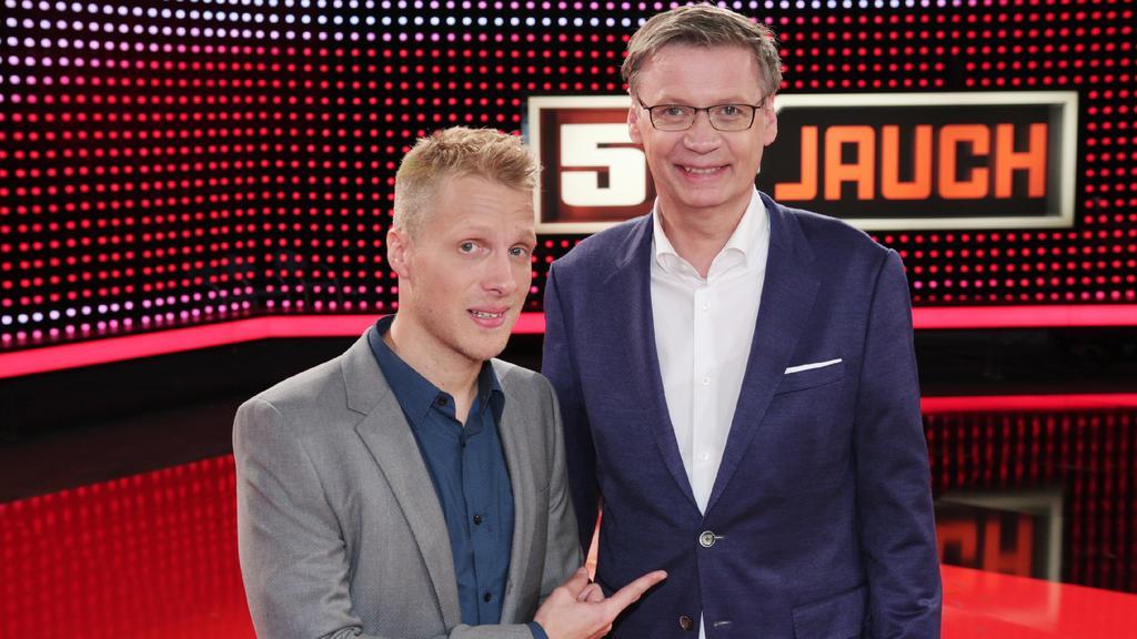 Moderator Oliver Pocher (l.) und Günther Jauch.