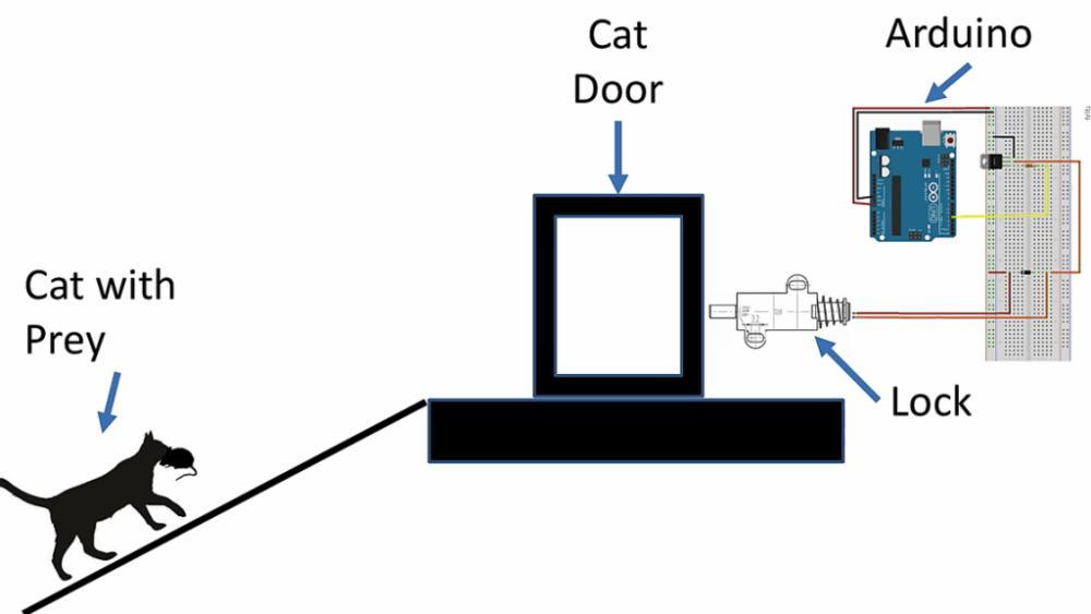Modell der intelligenten Katzenklappe.