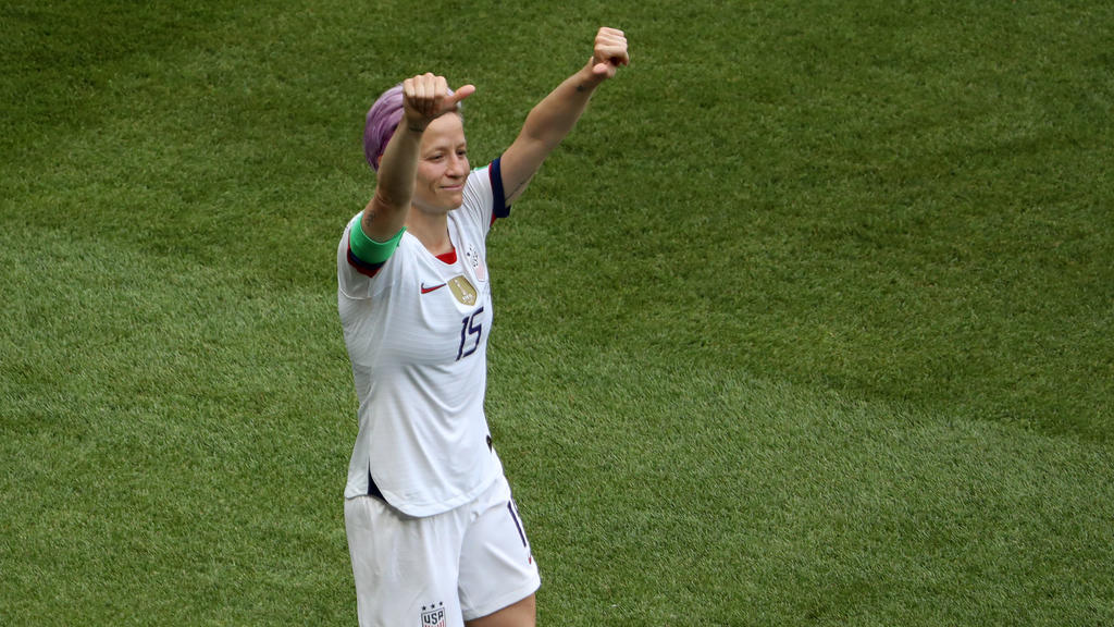 LYON, FRANCE - JULY 07:  Megan Rapinoe of the USA celebrates after scoring her team's first goal during the 2019 FIFA Women's World Cup France Final match between The United States of America and The Netherlands at Stade de Lyon on July 07, 2019 in L