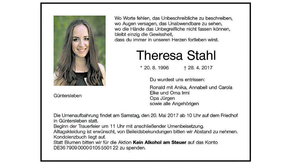 Todesanzeige Theresa Stahl