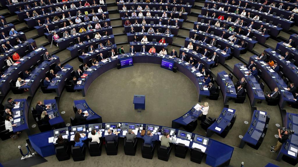 Straßburg, Bewerbungsrede von Ursula von der Leyen Rede vor dem Europäischen Parlament  (190716) -- STRASBOURG, July 16, 2019 -- The European Parliament holds a plenary session at its headquarters in Strasbourg, France on July 16, 2019. The European