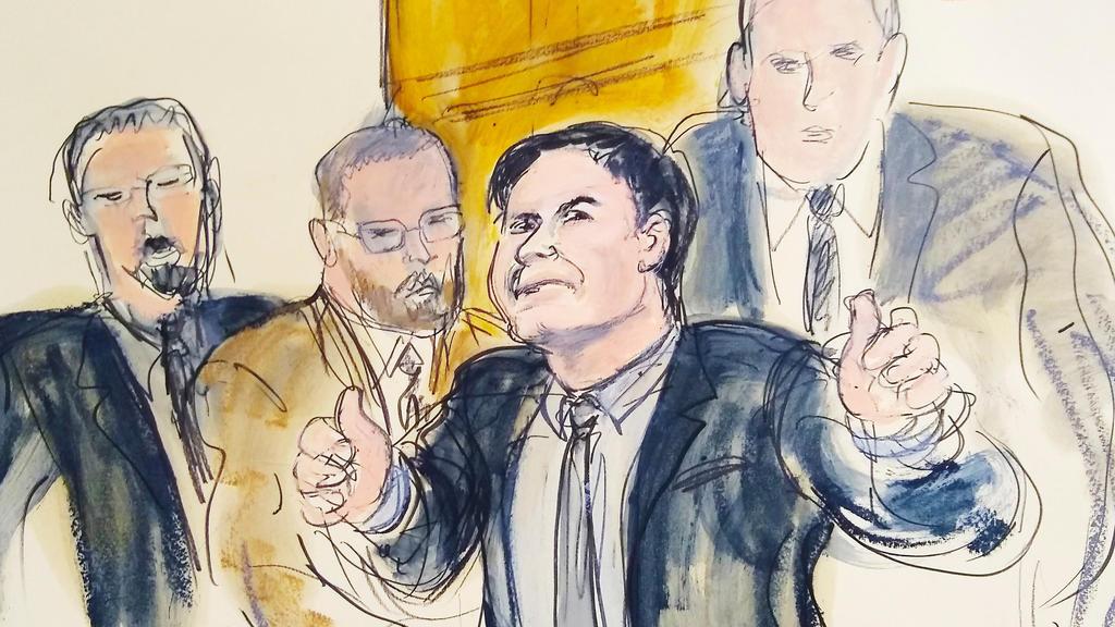 ARCHIV - 12.02.2019, USA, New York: Die Gerichtszeichnung zeigt Joaquin «El Chapo» Guzman (2.v.r.), der begleitet von US-Marshalls gestikuliert als er den Gerichtssaal verlässt. Rund ein halbes Jahr nach der Verurteilung des mexikanischen Drogenbosse