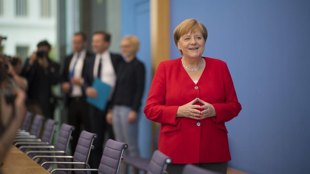Angela Merkel bei der Bundespressekonferenz