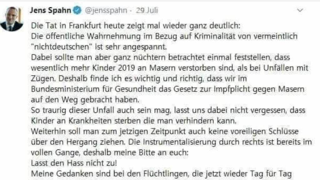 Gefälschter Twitter-Post von Jens Spahn zum ICE-Mord in Frankfurt