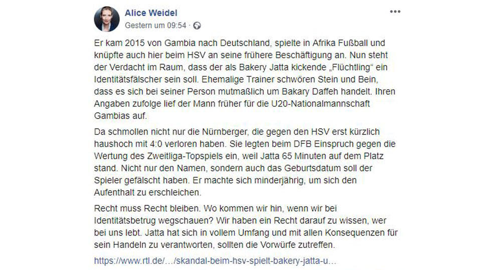 Post von Alice Weidel