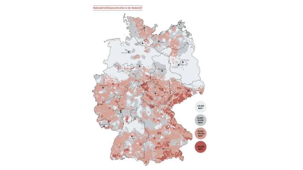 """Karte """"Radon-Konzentration im Boden"""""""
