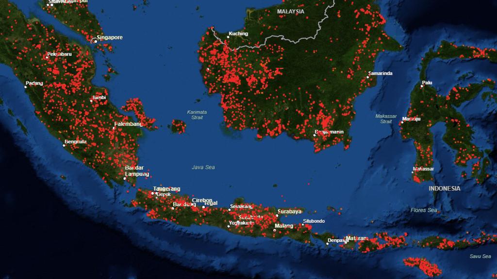So viele Brände wurden innerhalb der vergangenen sieben Tage in Indonesien registriert.