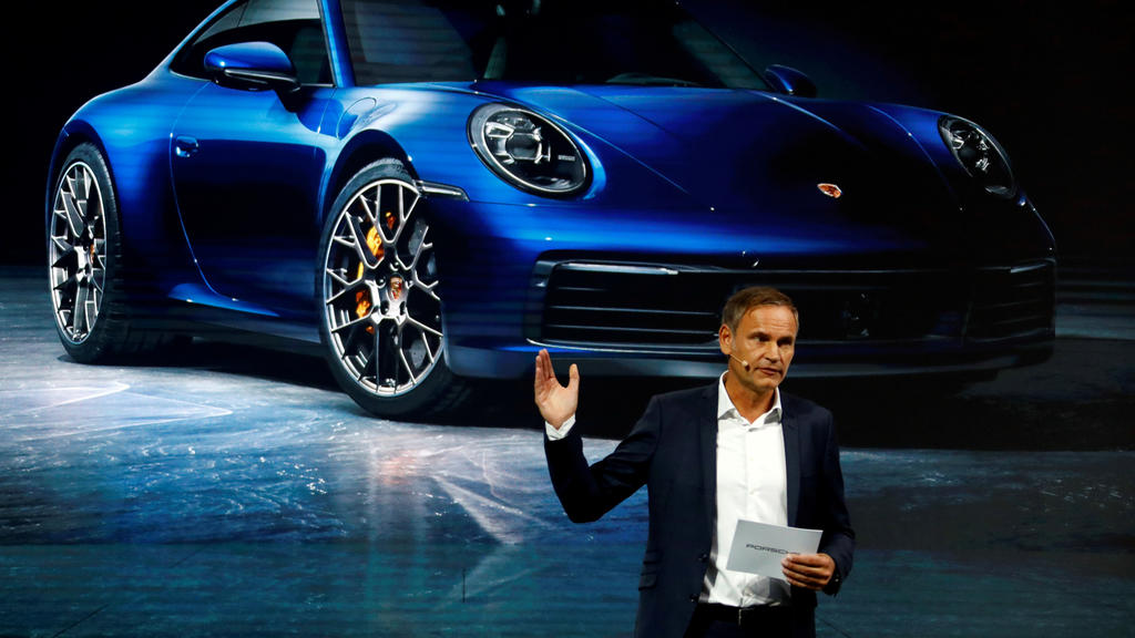 Porsche AG CEO Oliver Blume speaks at the 2019 Frankfurt Motor Show (IAA) in Frankfurt, Germany, September 10, 2019. REUTERS/Ralph Orlowski