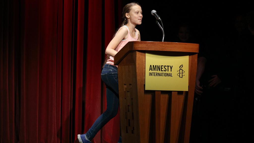Greta Thunberg bei der Verleihung des Amnesty-Menschenrechtspreis in Washington. (16.9.2019)