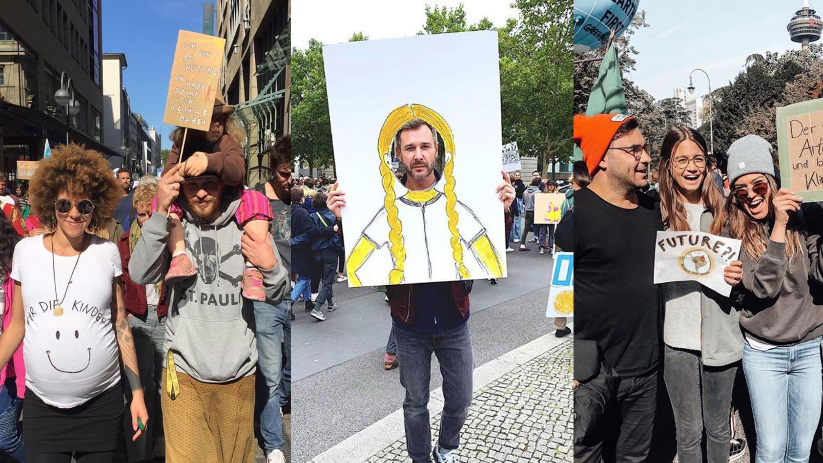 """""""Unter uns""""-Stars Joy Abiola-Müller und Patrick Müller (links) sowie Lars Steinhöfel, Josephine Becker und Sharon Berlinghoff gehen in Köln auf die Straße. Jochen Schropp ist in Berlin als Greta Thunberg unterwegs."""