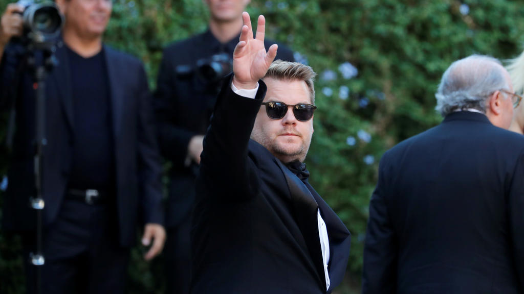 James Corden gestures as he attends the wedding of fashion designer Misha Nonoo at Villa Aurelia in Rome, Italy, September 20, 2019. REUTERS/Remo Casilli