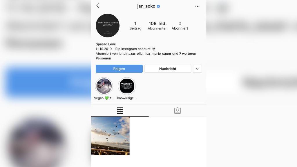 Jan Sokolowskys Instagram-Account im Oktober 2019.