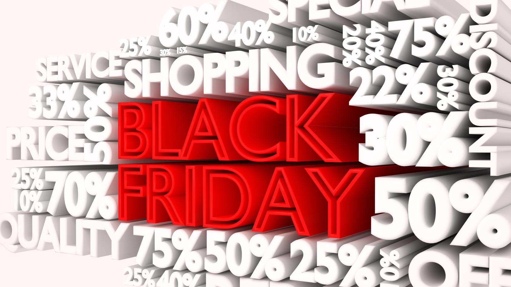 Viele Läden und Shoppingportale werben für den Black Friday mit satten Rabatten.