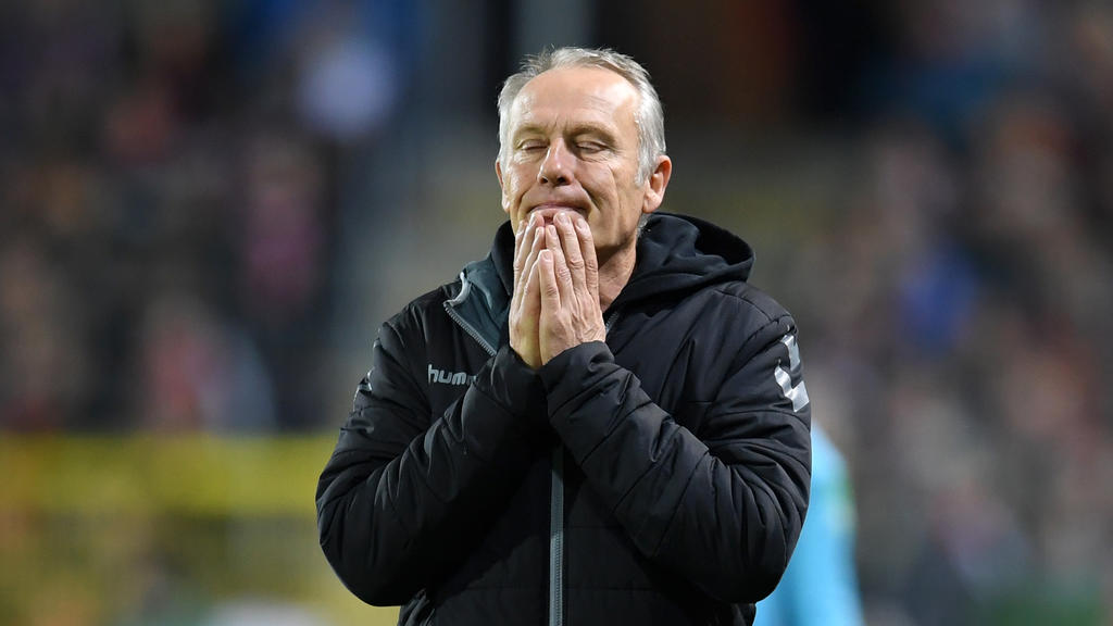 FREIBURG IM BREISGAU, GERMANY - OCTOBER 29: Christian Streich, Head Coach of Sport-Club Freiburg reacts during the DFB Cup second round match between SC Freiburg and 1. FC Union Berlin at Schwarzwald-Stadion on October 29, 2019 in Freiburg im Breisga