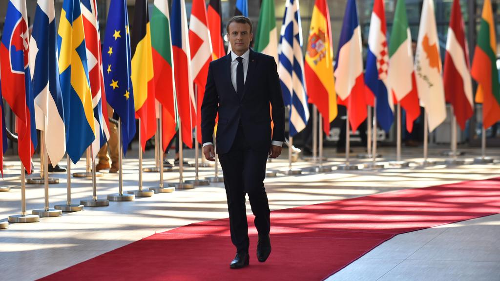 June 29, 2018 - Brussels, Belgium - French President Emmanuel Macron arrives at The European Council summit in Brussels on June 28, 2018. European Union leaders meet today for the two-day European Council. The agenda includes discussion on migration