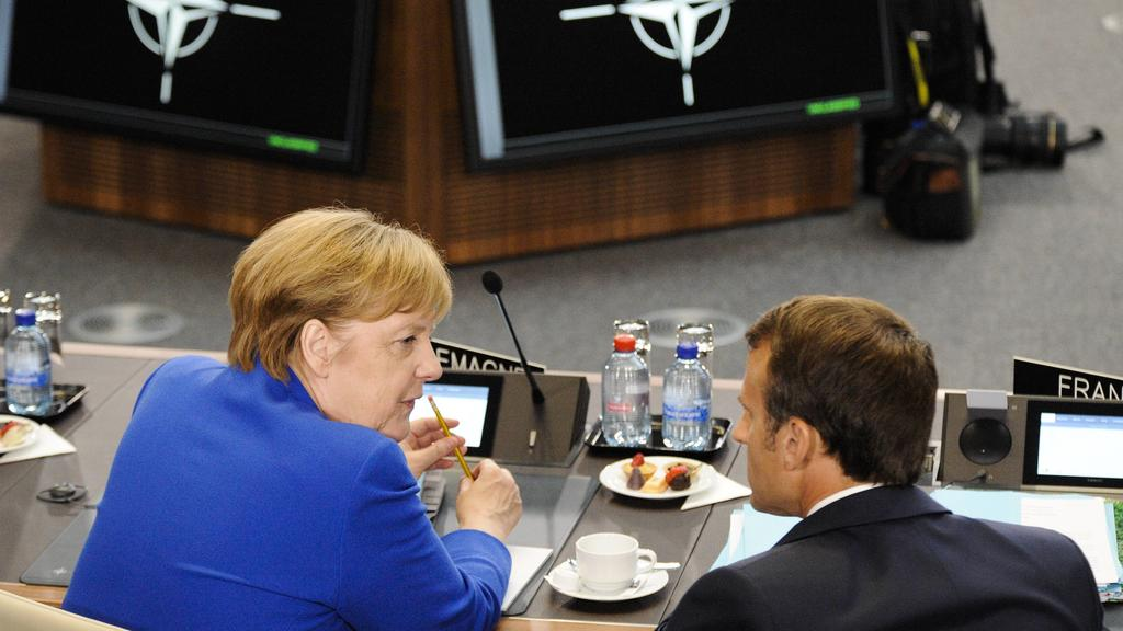 Angela Merkel and Emmanuel Macron is seen during the 2018 NATO Summit in Brussels, Belgium on July 11, 2018. Photo: Jaap Arriens/Hollandse Hoogte PUBLICATIONxINxGERxSUIxAUTxONLY Copyright: xHollandsexHoogtex/xJaapxArriensx x80203820x